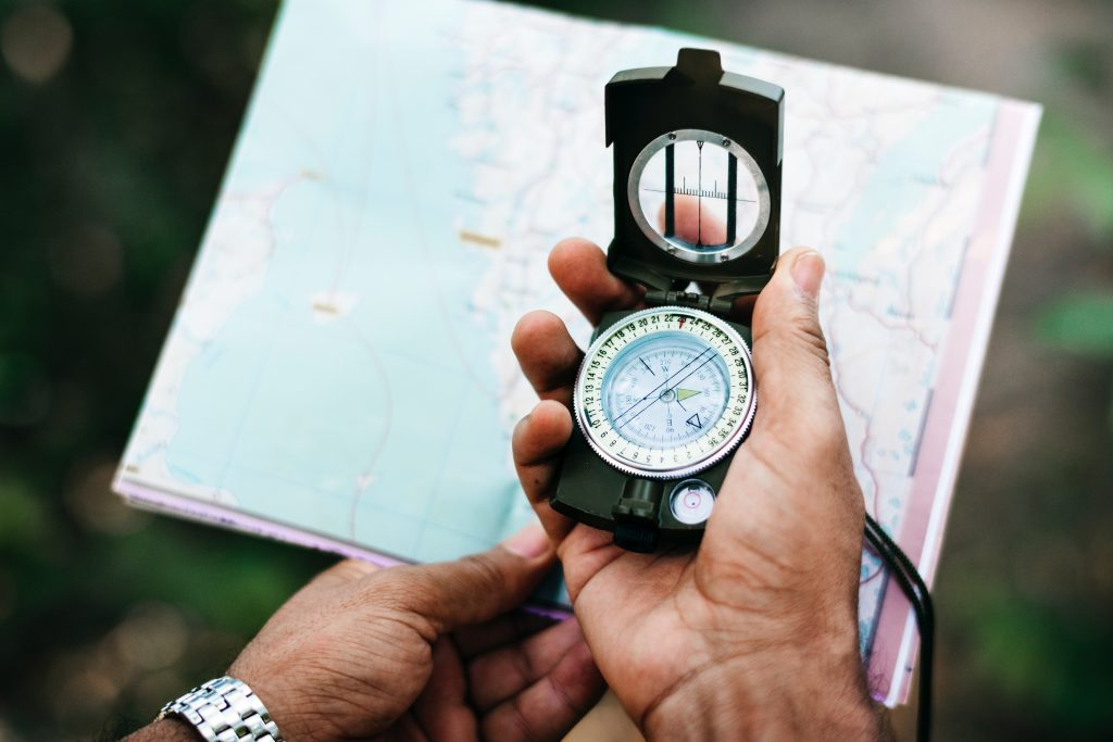 Compass being used for land navigation