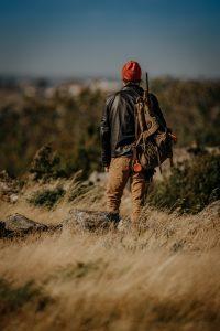 Waterfowl hunter wearing a backpack