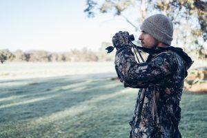 Turkey hunter with binoculars