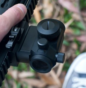Red dot sight used for turkey hunting