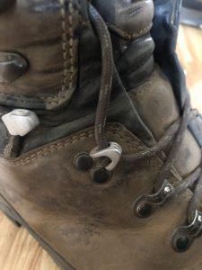 Lacing lock on Lowa mountain hunting boot